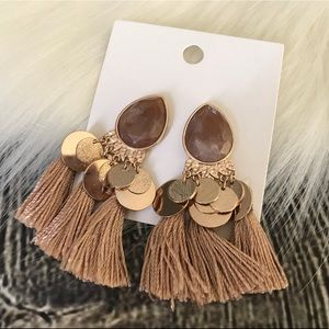 H&M Earrings Tassel Brown Gold New